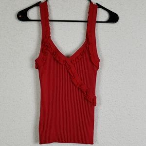 Cable & gauge red ruffled tank size large